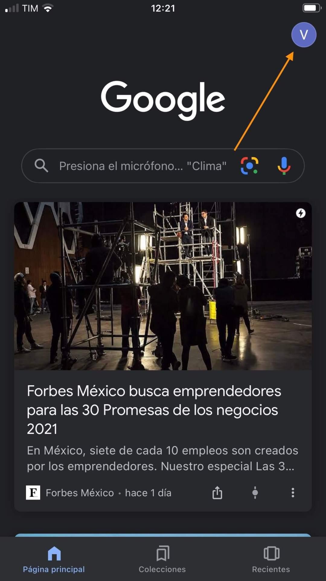 Cómo activar Google Discover: clic en tu perfil
