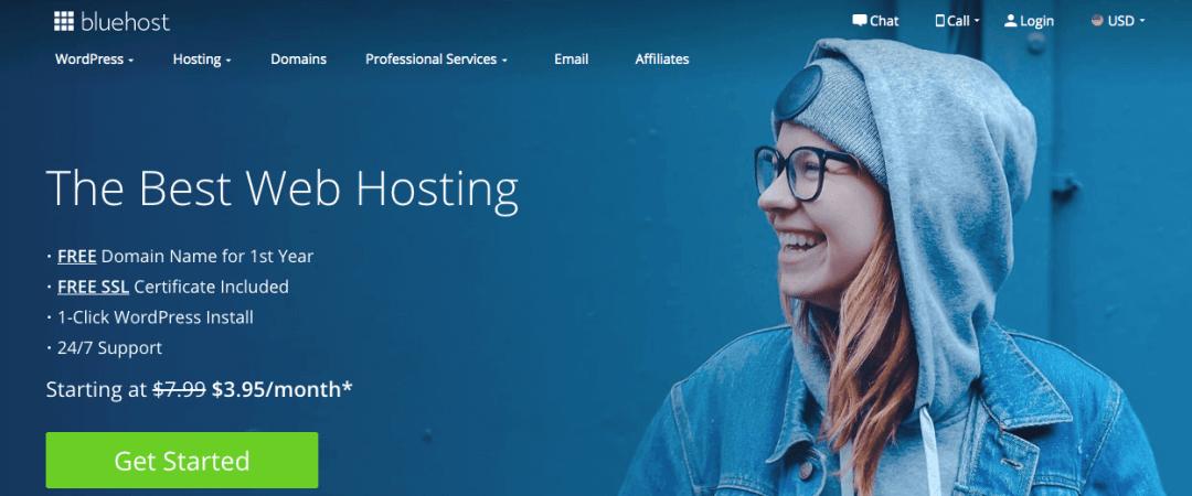 Bluehost, sitio de hosting
