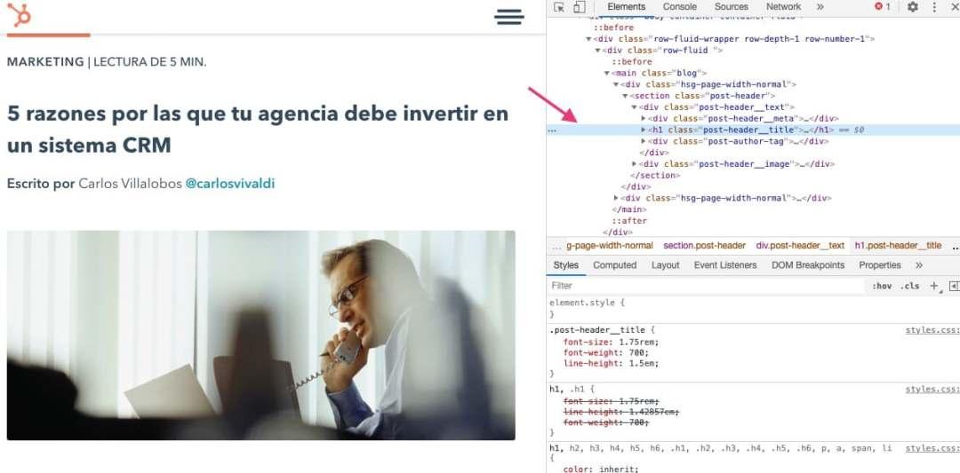 Inspeccionar elemento sin abrir el código fuente para saber cómo editar una página web