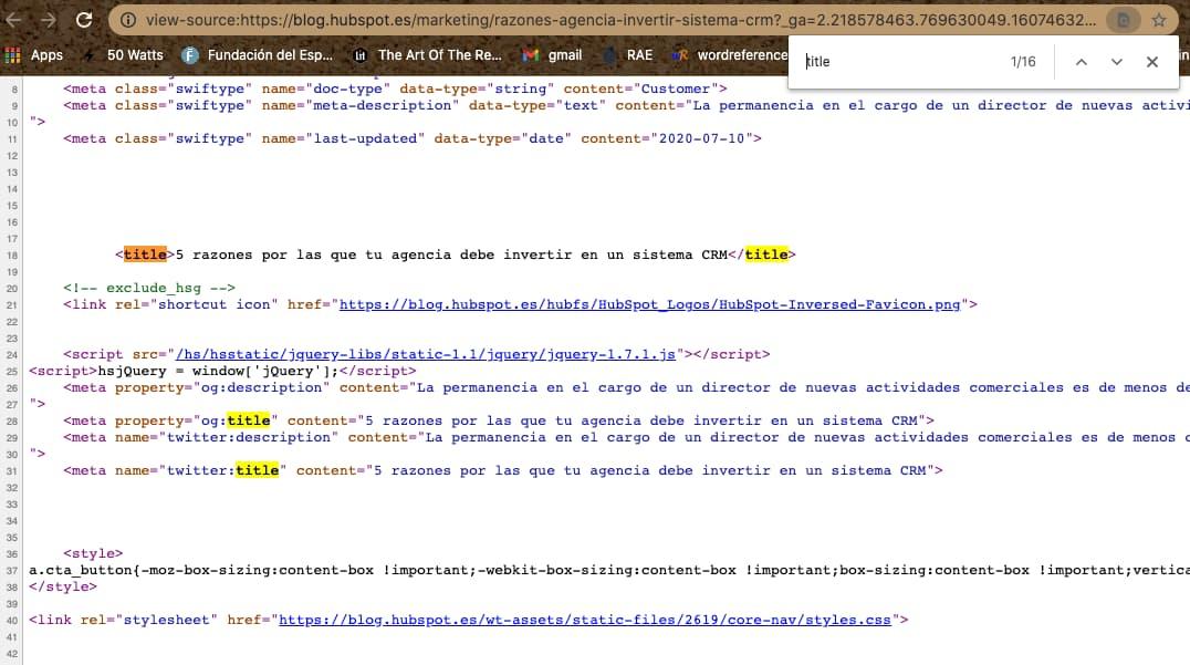 Búsqueda de un elemento en el código fuente completo para saber cómo editar una página web