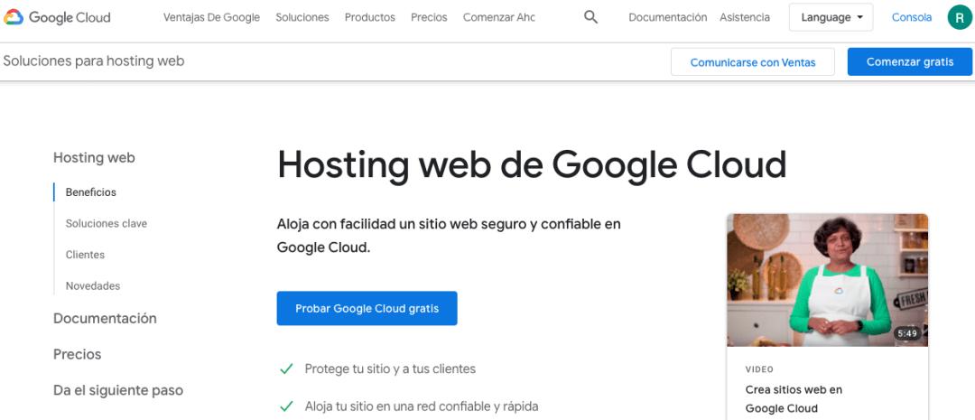 Soluciones para hosting web de Google Cloud