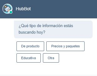 Chatbot de HubSpot: ¿qué tipo de información buscas?