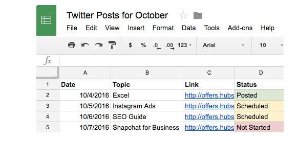 Ejemplo de uso de calendario de contenidos para redes sociales