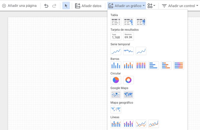Agregar gráficos en Google Data Studio