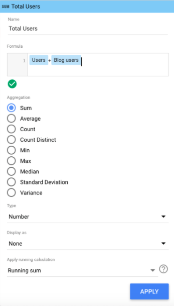 Actualizar fórmula de Google Data Studio