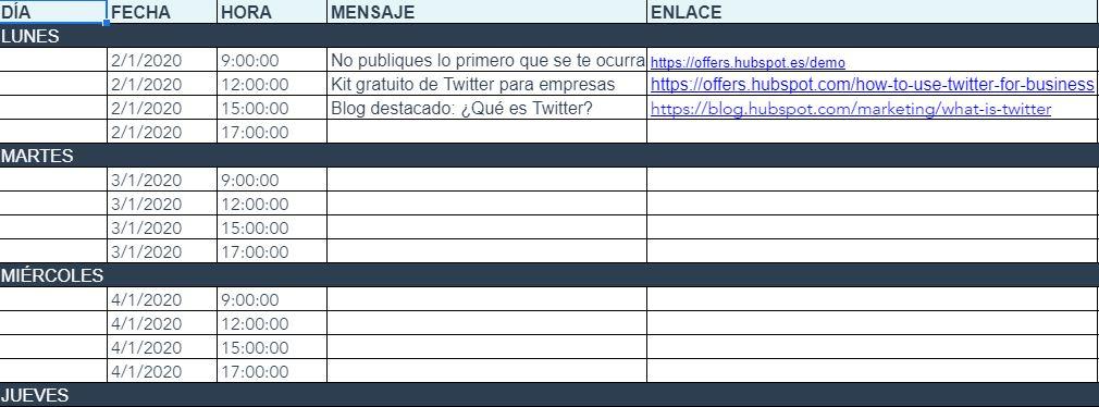 Plantilla de calendario para redes sociales de HubSpot