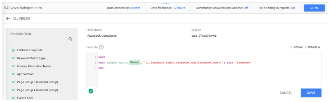 Fórmula SI/ENTONCES en Google Data Studio
