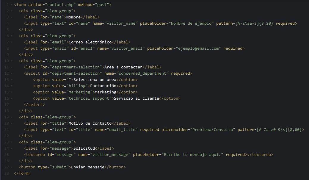 Código HTML para formulario