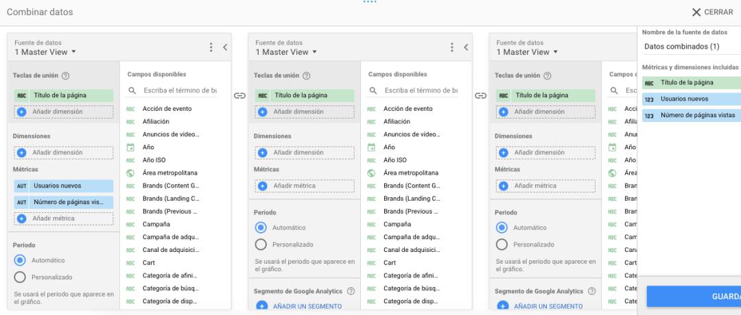 Combinar datos para Google Data Studio