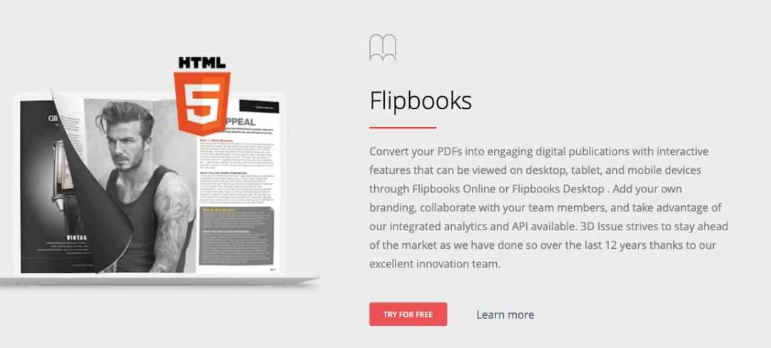 Página de inicio de 3D Issue, herramienta para crear un catálogo digital