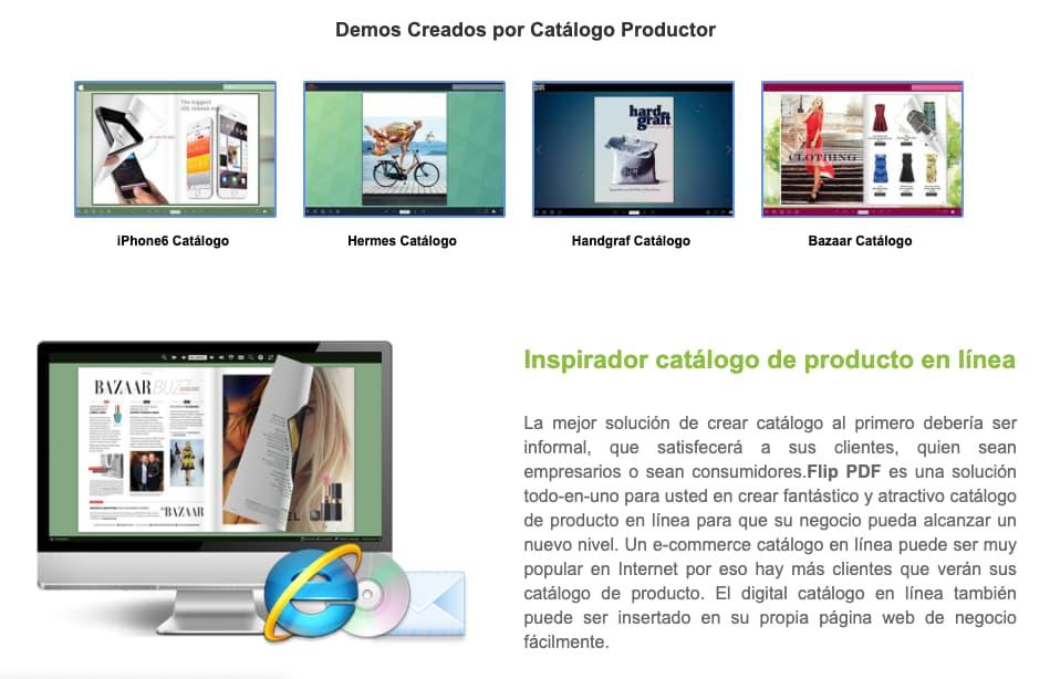 Página de ejemplos de Flip Builder, herramienta para crear un catálogo digital