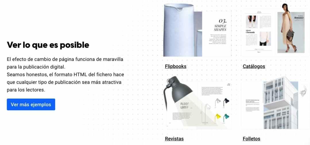 Ejemplos de documentos de Flipsnack, herramienta para crear un catálogo digital