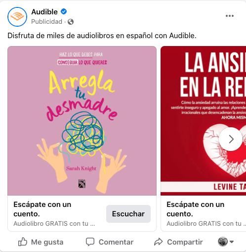 Retargeting en Facebook: ejemplo de anuncio