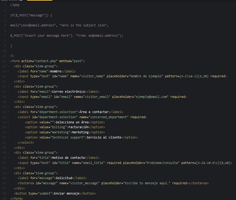 Cómo crear un formulario HTML: ejemplo de código HTML con PHP para que llegue a tu correo electrónico