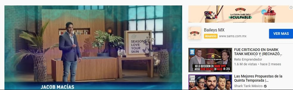 Ejemplo de banner de YouTube de SAM'S y Baileys