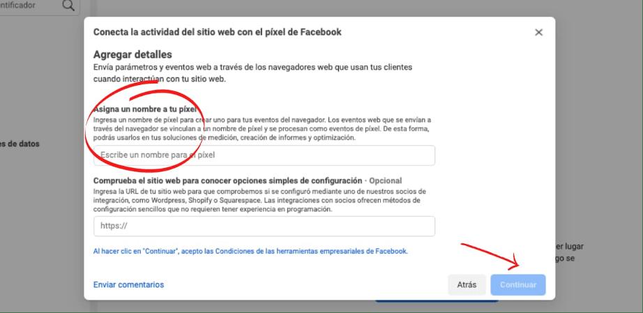 Asignar nombre a píxel de Facebook