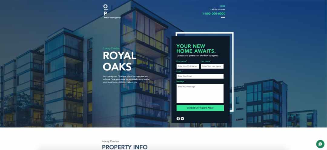Template gratuito para landing page: Real Estate