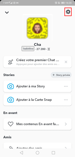 custom snapchat account setting