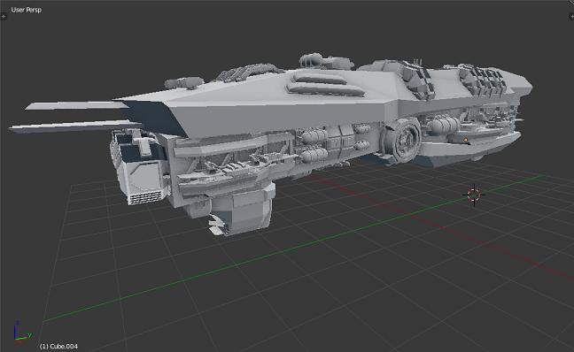 Kitbashing Spaceship : Extra Utilites Placement Showcase Example