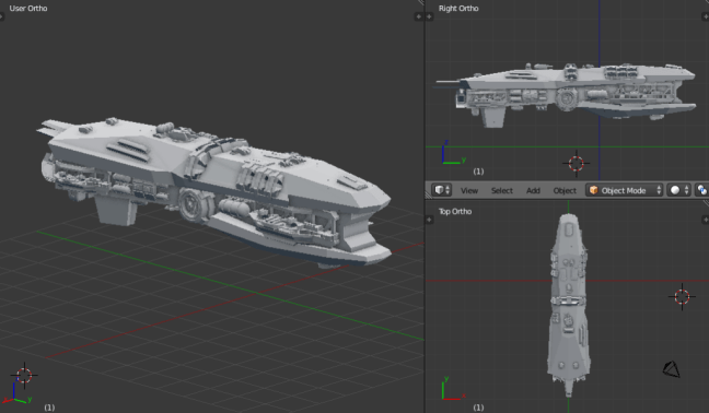 Kitbashing Spaceship : Shield Placement Example