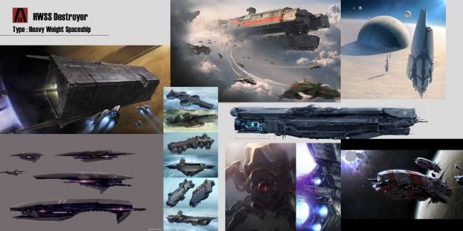 Kitbashing Spaceship : SpaceshipDesignBoard-HWSSDestroyer-Redfaction