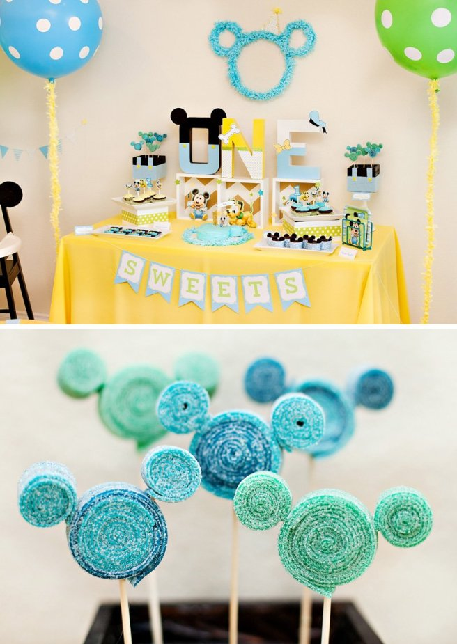 Mickey Mouse Sweets Banner from HWTM via Mandy's Party Printables