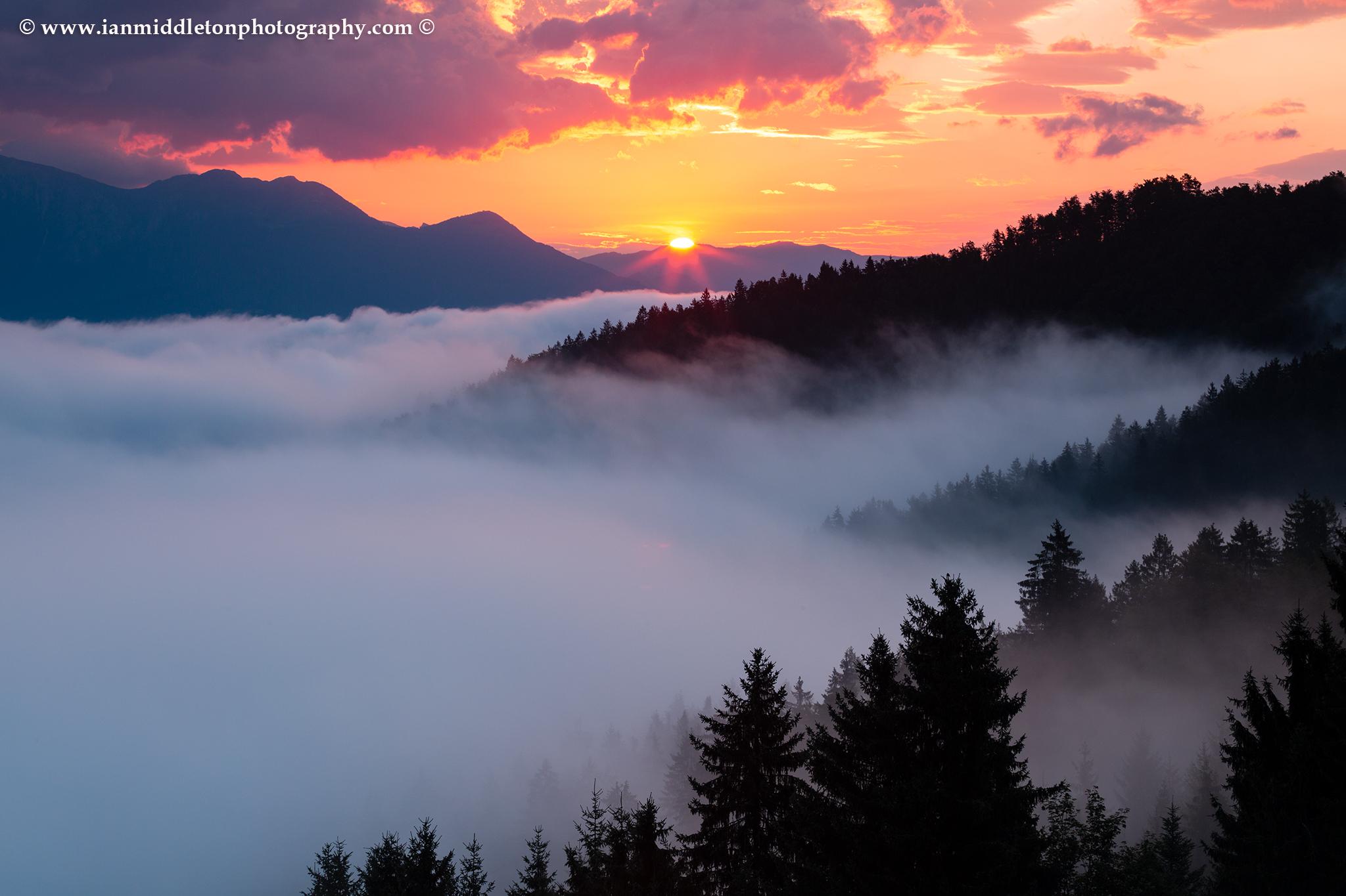 Sunrise over the Selca valley (Selška dolina) Skofja Loka, Slovenia.