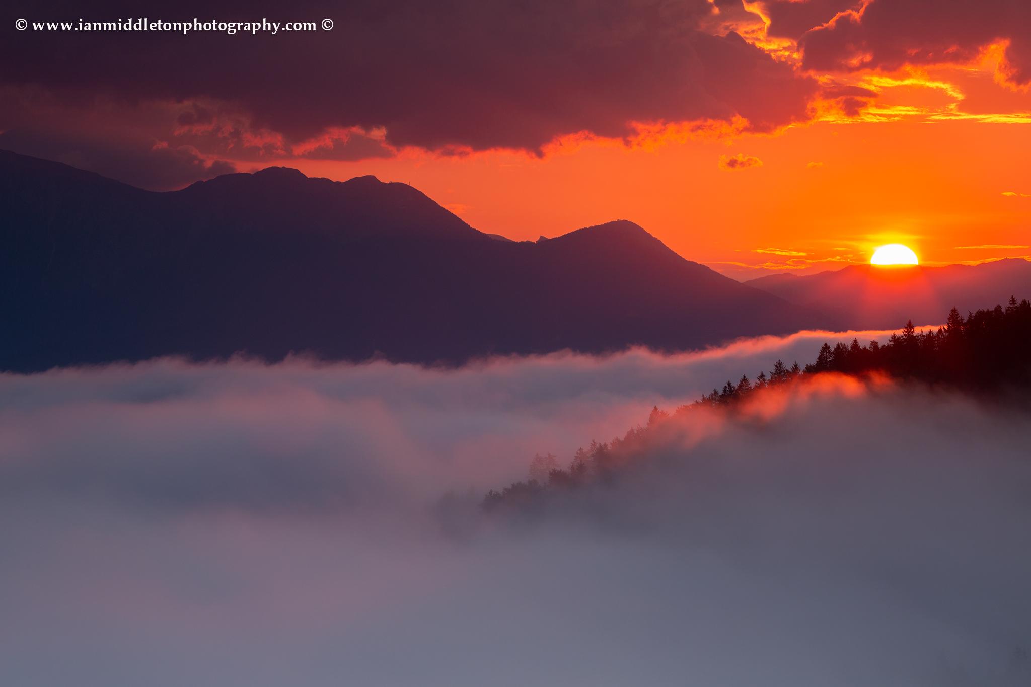 Sunrise over the Kamnik Alps, seen from Rantovše hill near Skofja Loka, Slovenia.