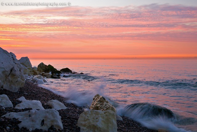 Sunrise at Saint Margaret Bay, at the famous White Cliff of Dover, Kent, England