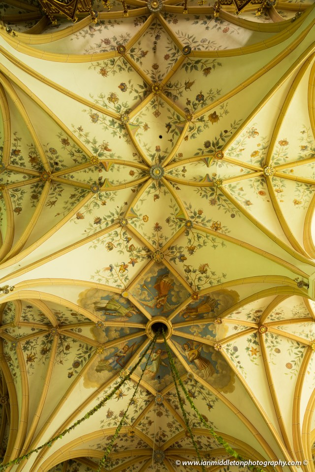 Beautiful frescoes on the vaulted ceiling of Saint Peter's Church in Radovljica, Slovenia.