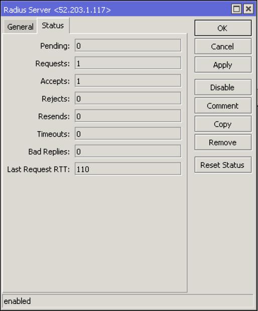 Mikrotik Radius Server Status