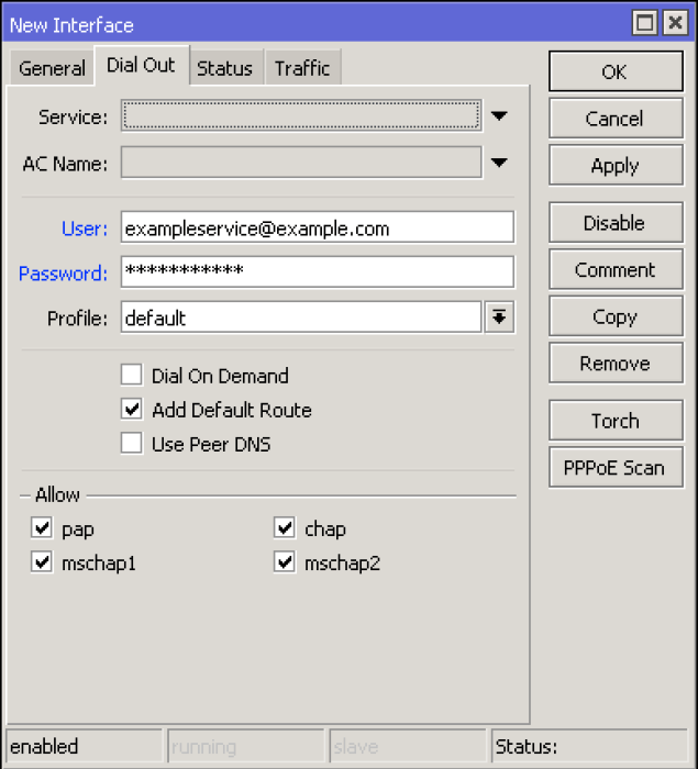 Mikrotik PPPOE Client Dial Out Settings