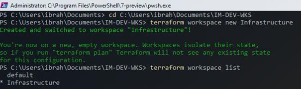 create terraform workspace