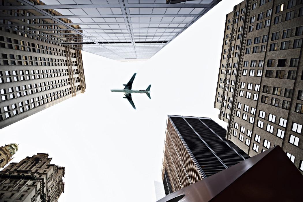 airplane over Manhattan