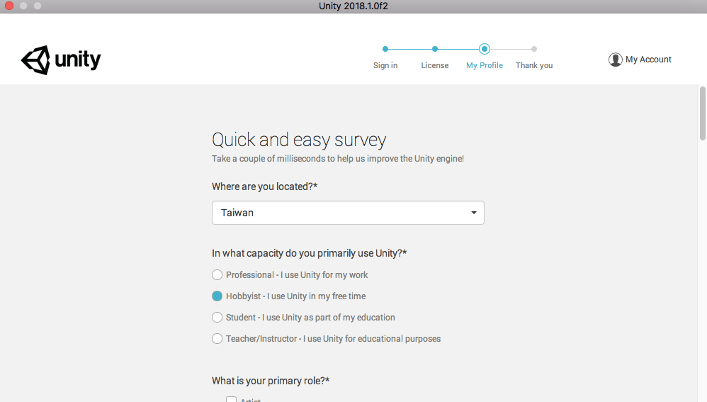 Unity Quick and easy survey
