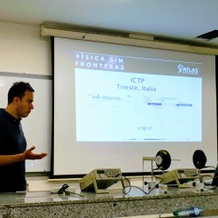 The Physics Without Frontiers team also discussed opportunities at CERN, ICTP, DESY, and elsewhere for further studies, talking about possibilities with students and professors in the Careers and Opportunities in High Energy Physics session organized at each university. This picture was snapped at UIS in Bucaramanga, Colombia.