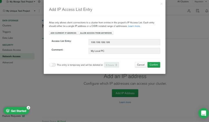 Opciones sobre la IP seleccionada.
