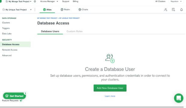 Agregar un nuevo usuario en MongoDB Atlas.