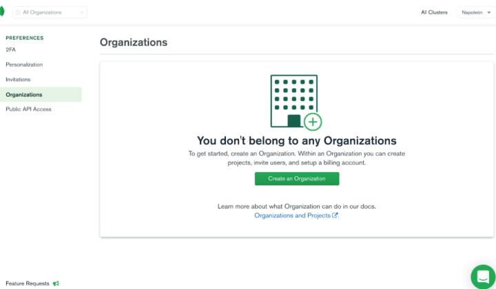 Agregar organización en MongoDB Atlas