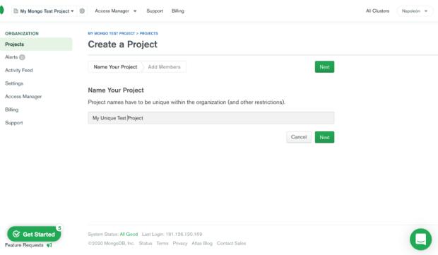 Creación de proyectos en MongoDB Atlas.