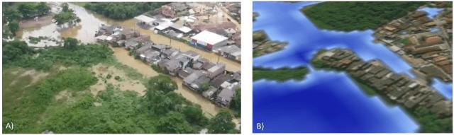 Inundações - Comparação entre a área efetivamente inundada pela tempestade (figura A; fonte: TV Vanguarda) e o resultado obtido por meio da modelagem