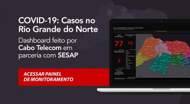Mapa interativo do coronavírus no RN feito pela Cabo Telecom e SESAP