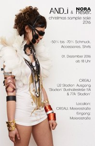 And-i & Nora Rieser Sample Sale, 1.12 ab 18:00 Uhr in der Creau.