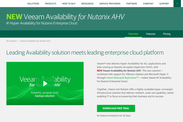 veeam site screenshot for nutanix ahv