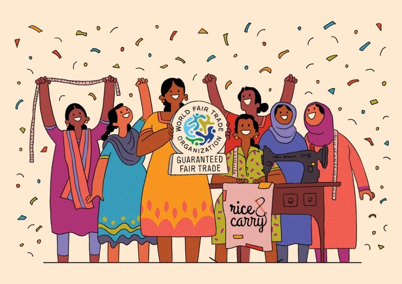 Marque éthique commerce équitable fair trade illustration