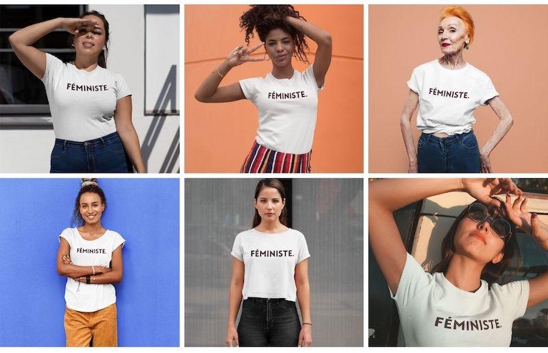 femmes avec le t-shirt féministe