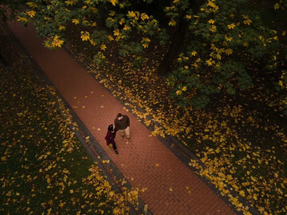 Um homem e uma mulher caminham de mãos dadas em um parque com muitas folhas amarelas no chão em cima da grama.