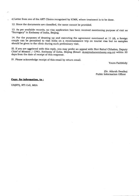 SURROGACY RTI REPLY china2