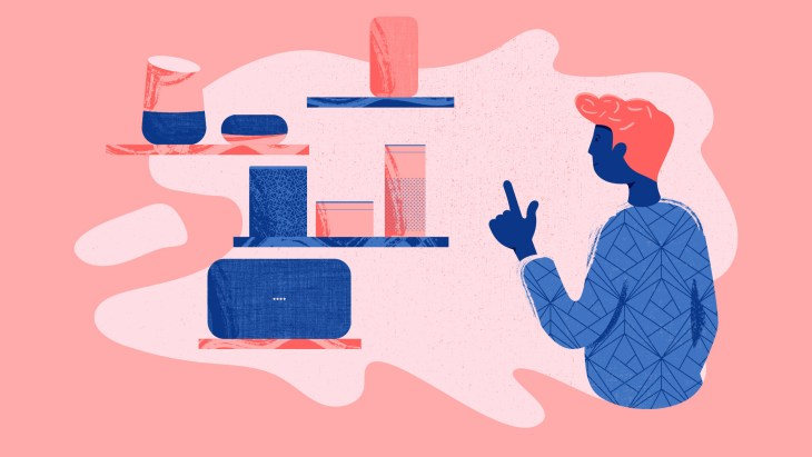 illustrazione raffigurante un utente e dispositivi per la ricerca vocale