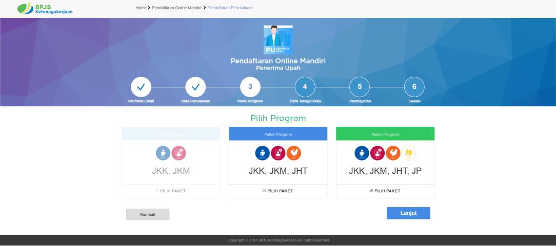 Pilihan Paket Program (Source: https://www.bpjsketenagakerjaan.go.id)